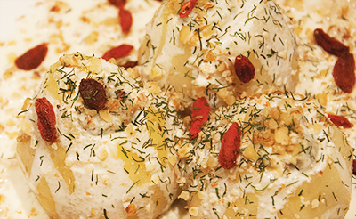dessert poires pochées fromage aneth