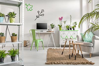 espace de travail minimaliste avec des plantes vertes