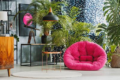 Plantes vertes, palmier, télescope et fauteuil rose dans une pièce
