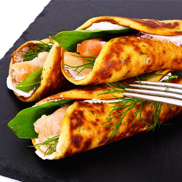 recette crepe salée aromates aneth et saumon