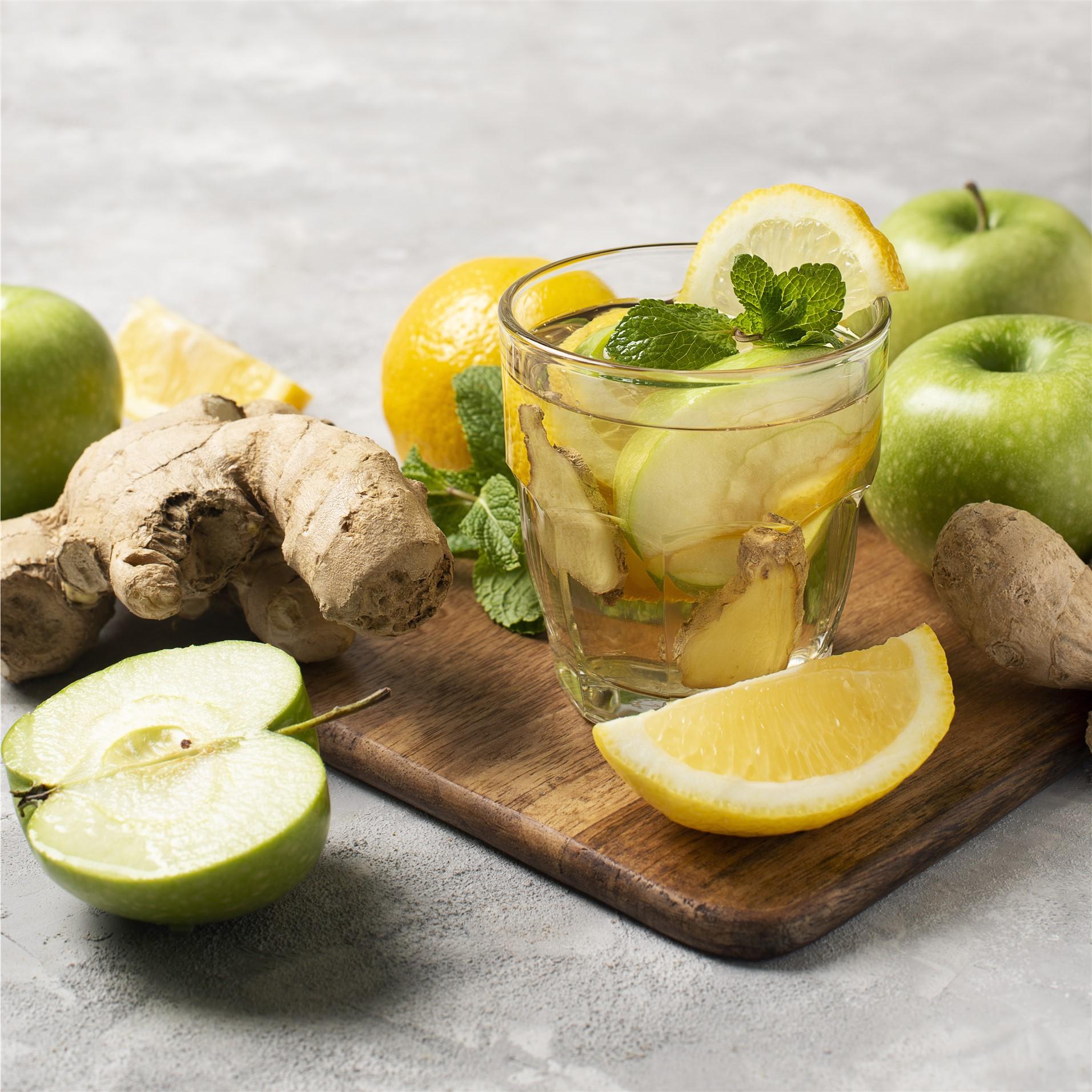 eau aromatisée pommen gingembre, céleri, citron